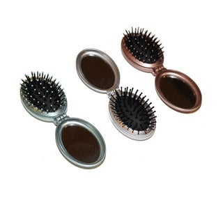 Viva Compact Folding Compact Hair Brush Assorted Colors (Pack of 3)