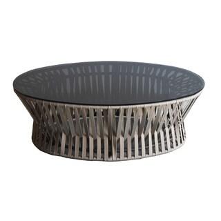 Bali Taupe Woven Grey Glass Coffee Table