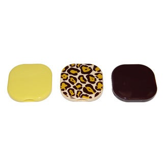 Viva Women's Square Yellow, Cheetah, and Brown Compact Pocket Mirrors (Set of 3)