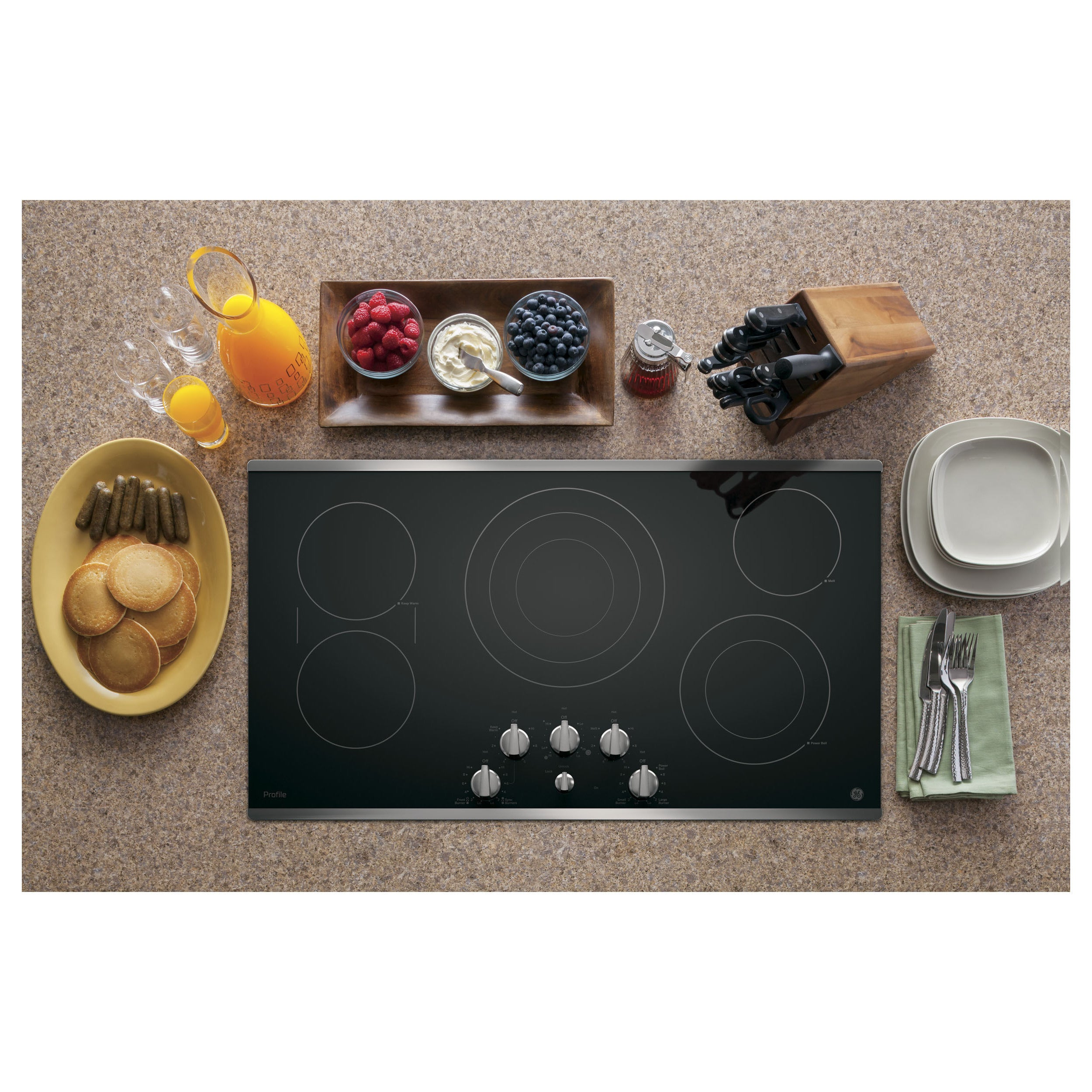 GE Profile 36-inch Electric Cooktop (Black With Stainless...