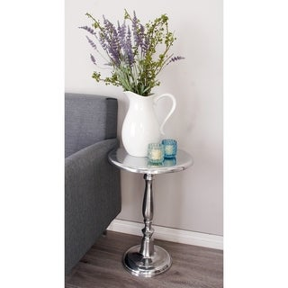 Contemporary 22 Inch Silver Metal Pedestal Accent Table by Studio 350