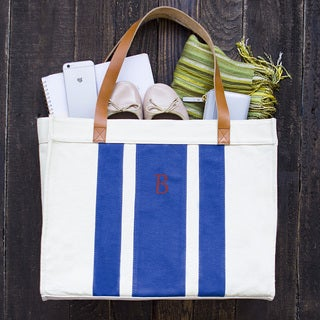 Personalized Canvas Tote Bag with Leather Straps - Free Shipping ...