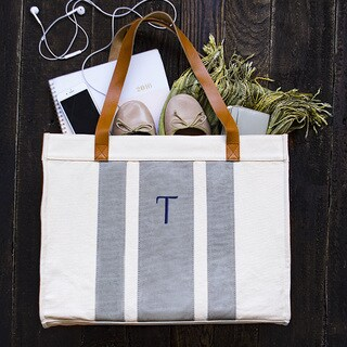 Personalized Grey Stitched Stripe Canvas Tote with Leather Handles