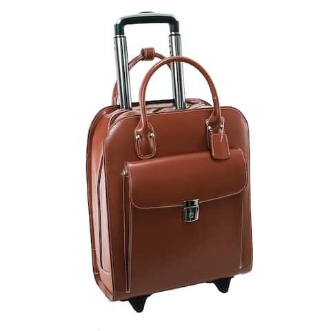 "McKlein Uptown Leather 15-inch Rolling Laptop Case - 13.5""L x 6""W x 16""H"