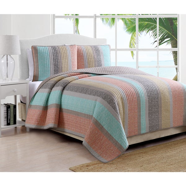Estate Brea Pastel Striped 3-piece Quilt Set