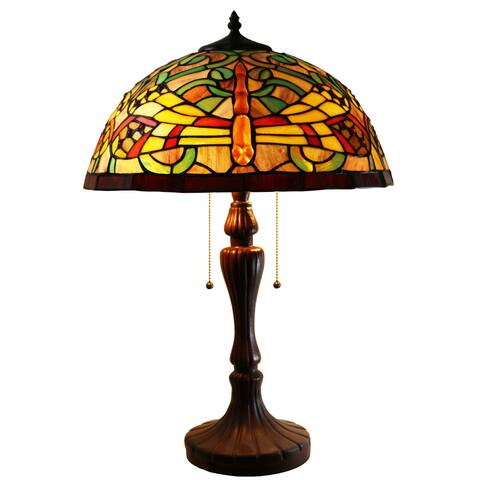 Warehouse of Tiffany Zuwena 2-light Dragonfly Tiffany-style 16-inch Table Lamp