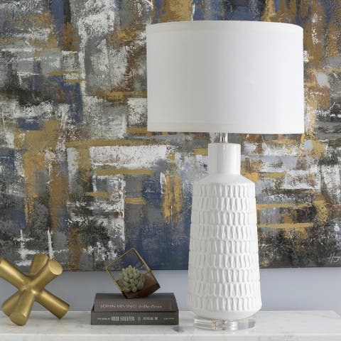 Hazebrouck Table Lamp with Glazed Ceramic Base