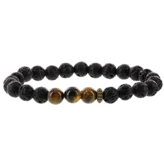 Fox and Baubles Lavastone/Tiger Eye/Brass Spacers Men's Stretch Bracelet