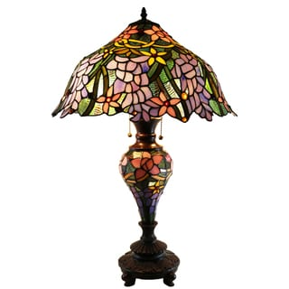 Zulaica 3-light Double-lit Stained Glass 18.5-inch Table Lamp