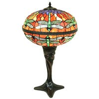 Zoelle 2-light Red Dragonfly Globe Stained Glass 18-inch Table Lamp