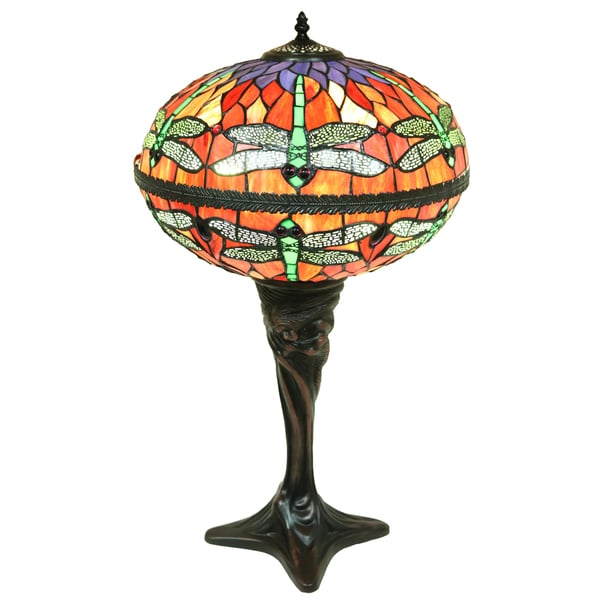 Shop Zoelle 2 Light Red Dragonfly Globe Stained Glass 18 Inch Table