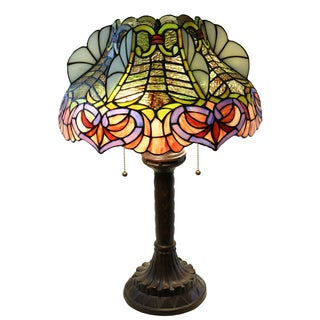 Zohndra 2-light Abstract Stained Glass 16.5-inch Table Lamp