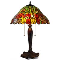 Zathura Tiffany-style Tulip Stained Glass 16-inch 2-light Table Lamp