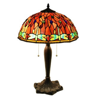 Zenevieva Red Dragonfly Stained Glass 16-inch 2-light Table Lamp