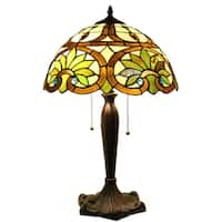 Warehouse of Tiffany Zenayda 2-light Off-white Stained Glass 16-inch Table Lamp