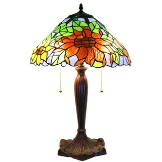 Zellda Bronze Stained-glass 2-light Sunflower 16-inch Table Lamp