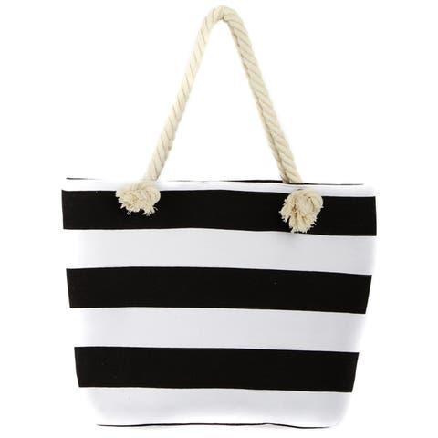Leisureland Rope Handle Stripe Canvas Beach Tote Bag by  New