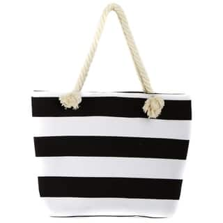 Leisureland Rope Handle Stripe Canvas Beach Tote Bag|https://ak1.ostkcdn.com/images/products/12205931/P19052911.jpg?impolicy=medium