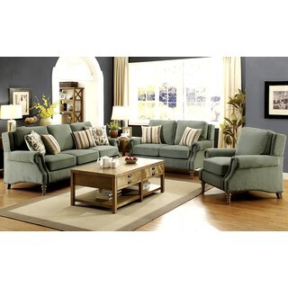 French Design Microvelvet with Nailhead Trim Living Room Sofa Collection