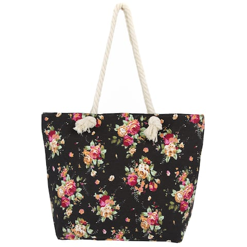 Leisureland Rope Handle Vintage Floral Canvas Beach Tote Bag