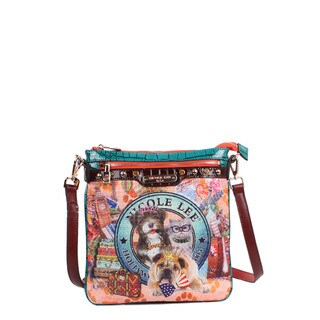 Nicole Lee World Tour Print Multicolored Faux-leather and Nylon Crossbody Handbag