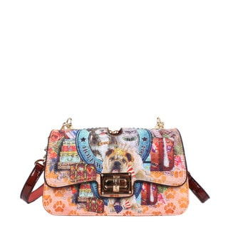 Nicole Lee World Tour Print Chain Crossbody Handbag