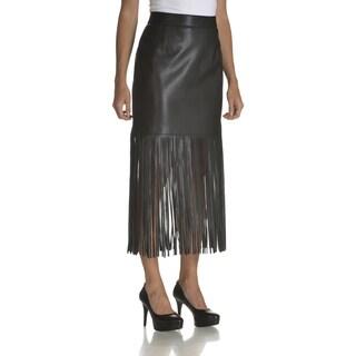 Chelsea & Theodore Women's Black Faux Leather Fringe Hem Skirt