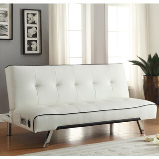 Contemporary Design White with Black Piping Tufted Sofa Bed with Chrome Legs and Bluetooth Speaker