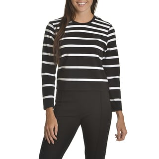 Chelsea & Theodore Women's White/Black Cotton/Spandex Stripe Crop Top