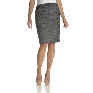 Chelsea & Theodore Women's Black/White Marled-knit Knee-length Skirt