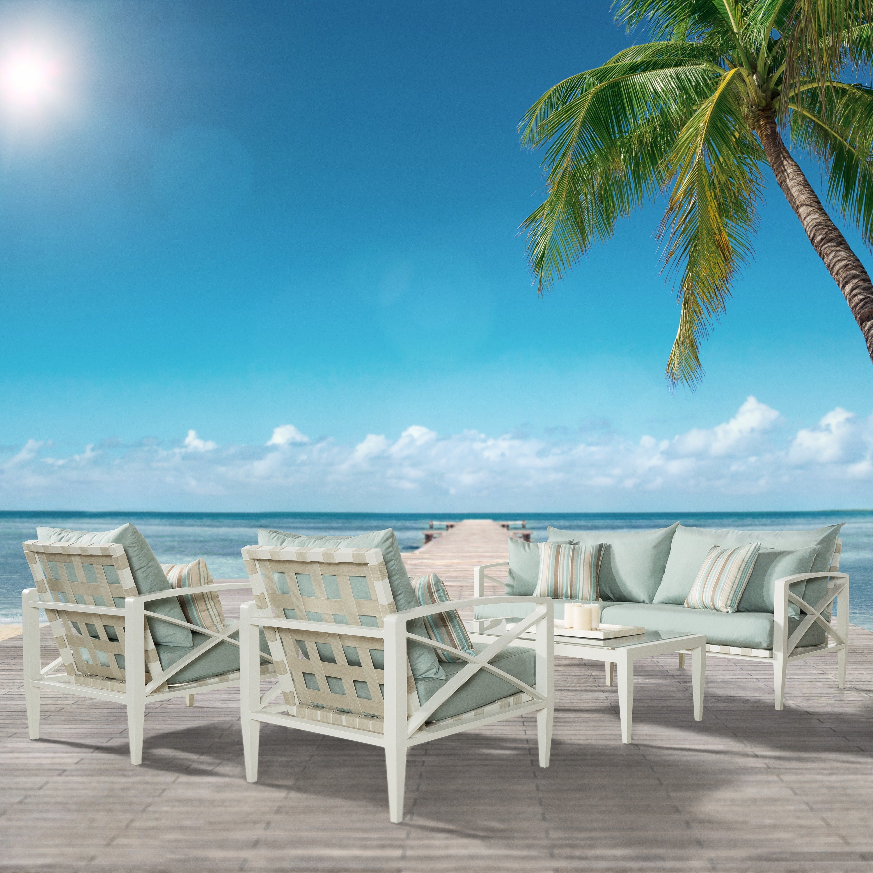 Shop RST Brands Knoxville Bliss Blue Cushion Cream Aluminum 4 Piece Outdoor  Seating Set   Free Shipping Today   Overstock   12206022