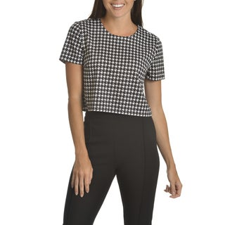 Chelsea & Theodore Women's Houndstooth Crop Top