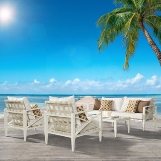 RST Brands Knoxville Moroccan Cream Cushion Cream Aluminum 4-piece Outdoor Seating Set