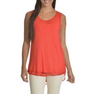 Chelsea & Theodore Women's Red Layered Tunic Top