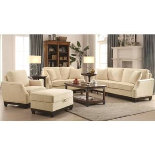 Traditional Beige Plush Living Room Collection with Wood Frame and Nailhead Trim