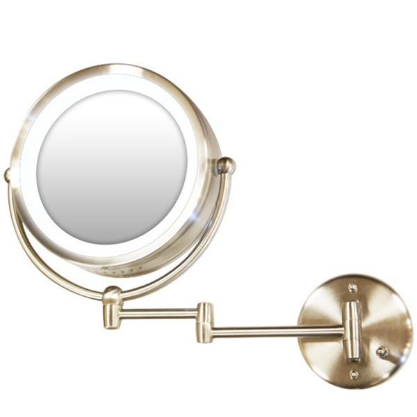 Shop Satin Nickel Lighted Mirror Wall Mount Free