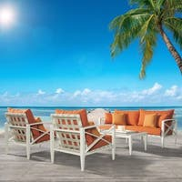 RST Brands Knoxville Tiki Orange Cushion Cream 4-piece Outdoor Seating Set