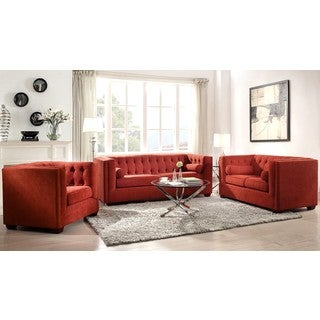 Mid-Century Red Living Room Collection with Button Tufted Design