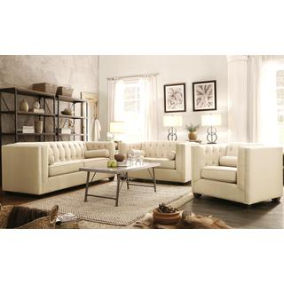Mid-Century Beige Living Room Collection with Button Tufted Design
