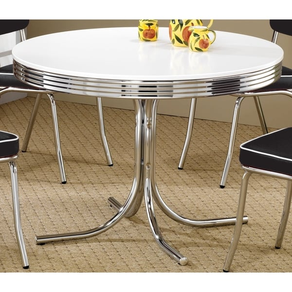Retro Round Dining Table White And Chrome Overstock 12206091