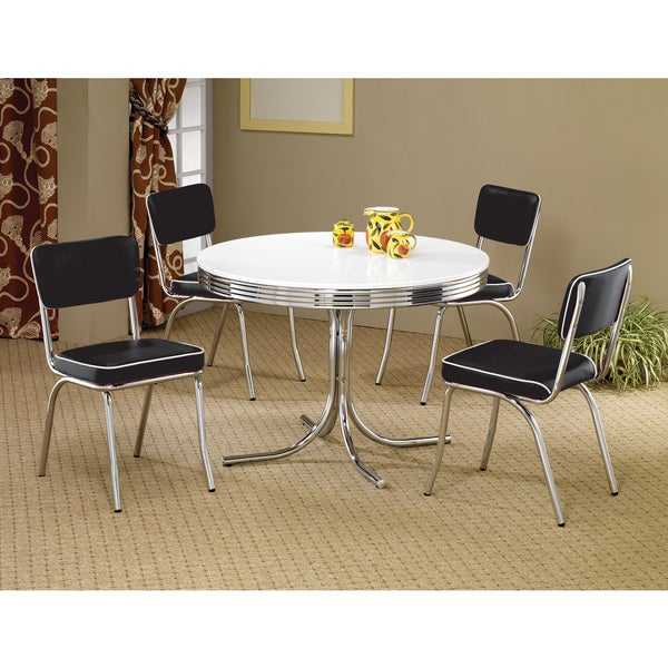 Coaster Company White/ Chrome Plated Metal Round Retro Dining Table   White