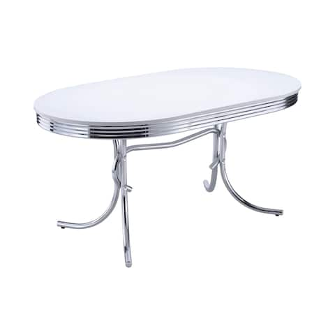 Coaster Company White Oval Retro Style Dining Table