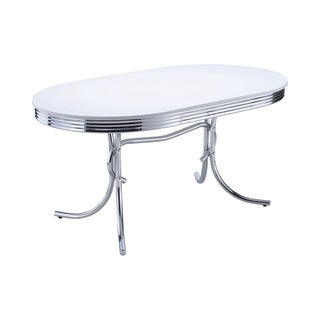 coaster company white oval retro style dining table - Oval Dining Room