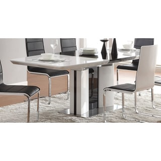 6-seater Ultra Modern White and Black Chrome-finish Dining Table