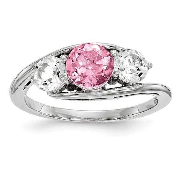 f536c482b Versil Sterling Silver Clear and Pink Swarovski Topaz Sue Ring, Part of the  Survivor Collection