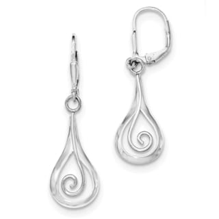 Sterling Silver Rhodium-plated Polished Fancy Dangle Leverback Earrings by Versil