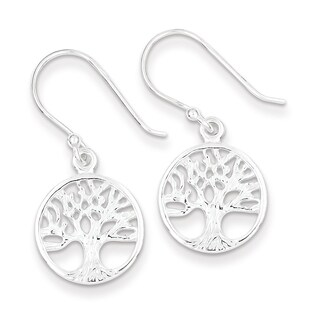 Sterling Silver Polished Filigree Tree Dangle Earrings by Versil