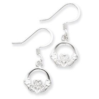 Sterling Silver Diamond-cut Claddagh Earrings by Versil