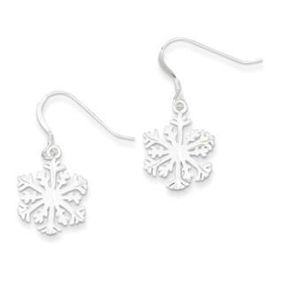 Sterling Silver Satin Snowflake Earrings by Versil
