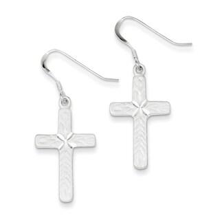 Sterling Silver Cross Shepherd Hook Earrings by Versil